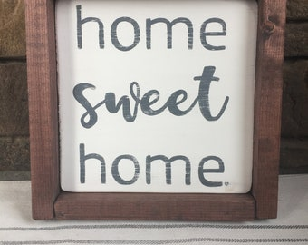 home sweet home, wood sign, framed, hand painted