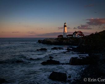 Portland Head Light Print, Portland, Maine, Travel Photography Prints, Sunset Photography, Nature Photography, Sunset, Lighthouse