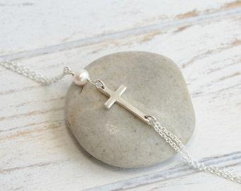 Sterling Silver Sideways Cross Bracelet... Your Choice of Birthstone