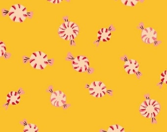 Heather Ross - Sugarplum - Peppermints Yellow 50167-7 Windham Fabrics - Sold by the Half Yard