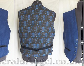 Dr Who Tweed & Tardis Print Waistcoat, Custom size, for guys or gals! :D