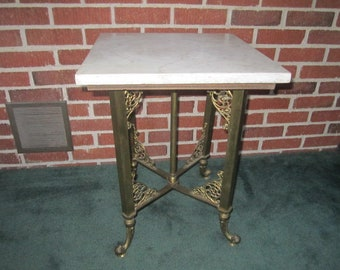 Antique Victorian Ornate Brass Dolphin Footed Table with White Marble Top Made from Casket Stand