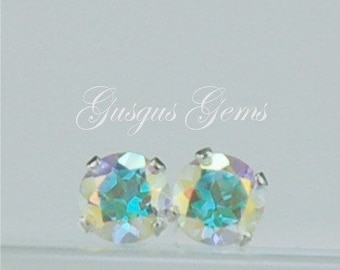 Opalescent Topaz Stud Earrings Sterling Silver 4mm Round .55ctw