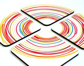 Wooden coasters, Drink coasters, Wood coasters, Colorful circles geometric Modern kitchen coasters, coaster set, set of four coffee coasters