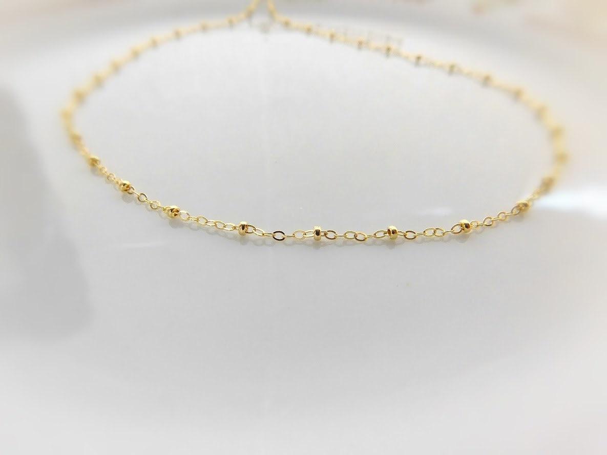 Gold Beaded Choker Satellite Necklace 14k Gold Filled