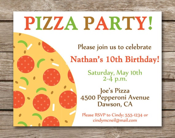 Pizza party invitation pizza invitation pizza parlor like this item stopboris Image collections