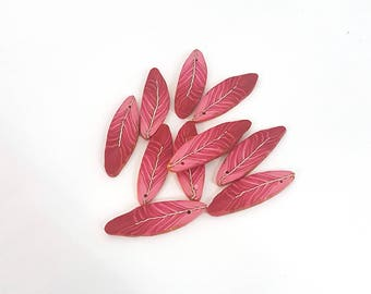 Red Feather Beads, Polymer Clay Bird Feather Beads, Warm Red Beads 10 Pieces