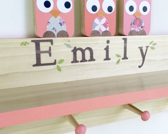 Coral Pink Owl Clothing Rack and Shelf,  Wall Coat Rack, Wall Shelf, Woodland Nursery, Personalized, Kids Decor, Pink Baby, Wooden owl