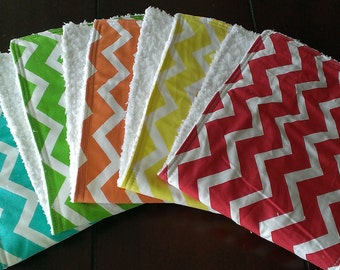 Chevron Burp Cloths...Set of 5 Burp Rags...Chevron print...Rainbow...Soft  Back...Super Cute