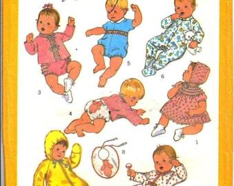 Simplicity 8761 Infant Layette (Kimono, Dress, Bonnet, Pajamas, Bunting, Sacque, Diaper Cover, Suit & Bib) Size 6 Mo 13-18 lbs 1970's UNCUT