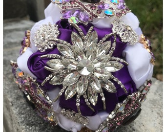 FULL PRICE, ready to ship, purple bouquet, 7in purple bouquet, 7in brooch bouquet, brooch bridal bouquet,