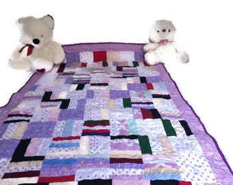 Twin Quilt, Scrappy Quilt, Twin Bedding, Twin size Quilt,  Sofa Throw, Quilted Throw, Patchwork Quilt, Flannel Quilt, OOAK Quilt