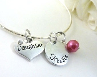 Daughter Gift Daughter bracelet Personalized Daughter Necklace Expandable Hand stamped Jewelry
