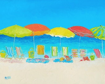 Beach Painting, Beach Decor, Beach umbrellas, Tropical decor, ocean seascape painting, bathroom wall art, coastal decor, Jan Matson
