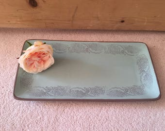 Ceramic Duck Egg Blue & Grey Serving Platter