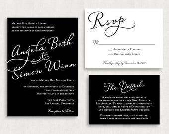 Wedding Invitation and RSVP Card (Styled) -Digital File, PDF, DIY, Printable, Calligraphy, Script, Black and White, Stripes, Modern, Classic