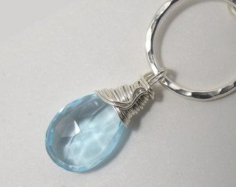 Swiss Blue Topaz Gemstone Pendant Necklace in Sterling Silver