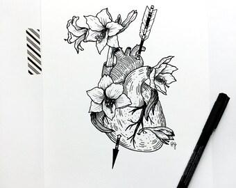 Amaryllis Flower Art Print, Anatomical Heart Botanical Decor, Hearts and Arrows Artwork, Greek Mythology Inspired Black and White Wall Art