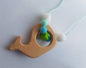 Wooden whale silicone teething necklace