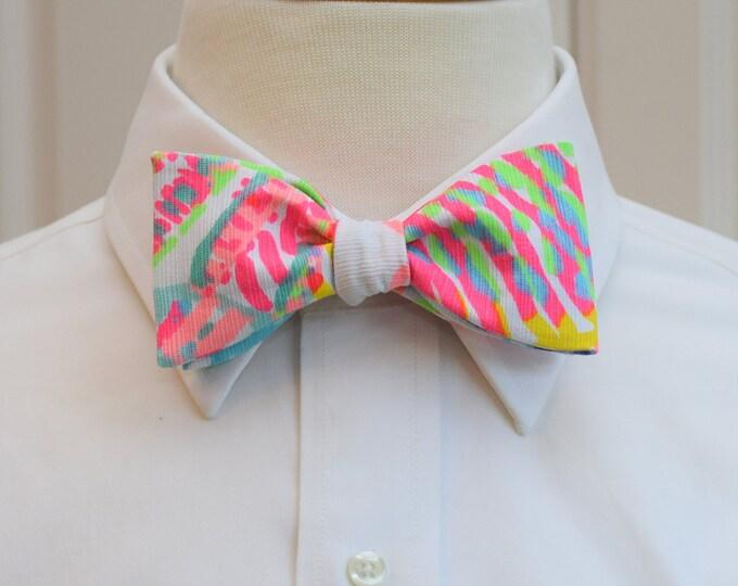 Men's Bow Tie, Roar of the Seas  multi color Lilly bow tie, groomsmen/groom bow tie, wedding party bow tie, prom bow tie, tuxedo accessory