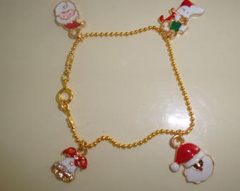 Pearl bracelet chain gold thin ball Santa Claus child or adult