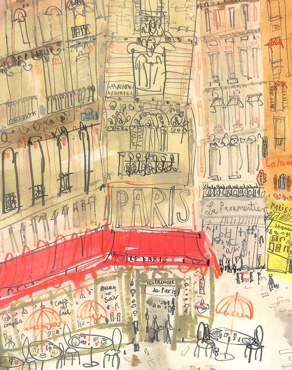 PARIS Cafe PRINT Illustration Paris Cafe Wall Art 8 x 10
