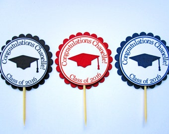Graduation Cupcake Toppers, Graduaton Party Decorations, Graduation Decorations, Class of 2018, Grad Cupcake Toppers Congrats Grad Set of 20