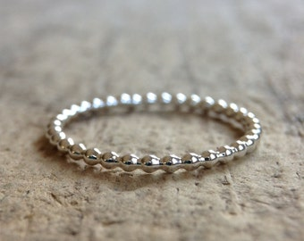 Small Beaded Silver Ring, Silver Ball Ring, Sterling Silver Ring, Beaded Ring Band, Skinny Stacking Ring, Silver Band, Boho Chic Jewelry