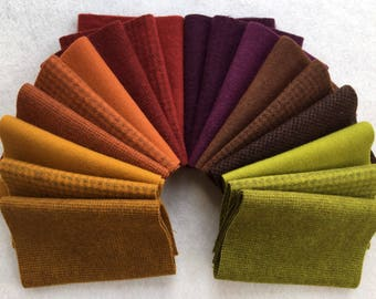 Hand Dyed Felted Wool, AUTUMN Assortment, 18 pieces in Bold Fall Colors, Perfect for Rug Hooking, Applique and Crafts