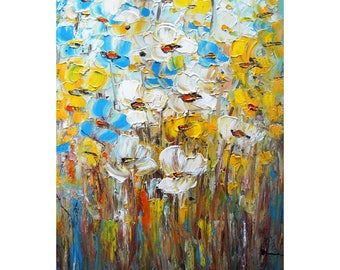 POPPIES White Blue Yellow Flowers Impasto Original Painting Art by Luiza Vizoli