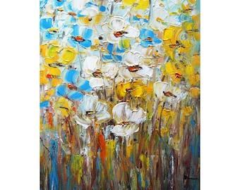 COQUELICOTS blanc bleu fleurs jaunes empâtement peinture originale d'Art par Luiza Vizoli