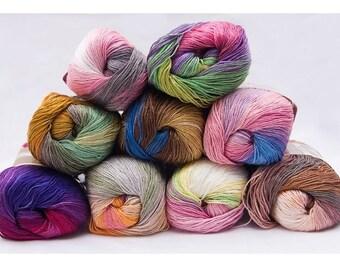 Silk effect Alize Diva Batik, microfiber acrylic yarn, summer extra soft yarn, knitting crochet dress / top yarn ,choose color, magic yarn