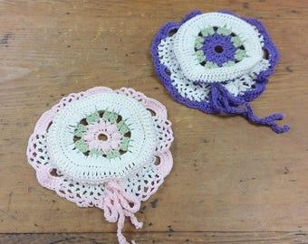 Vintage Purple and Pink Crocheted Jar Lid Covers