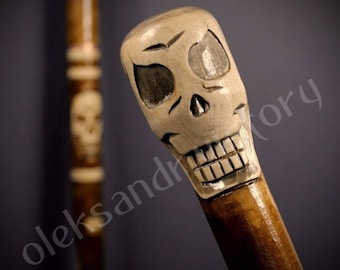 Skull Cane Collectible Cane Wooden Cane Walking Cane Wooden Stick Walking Stick Handcrafted Handmade Cane Woodcarving Exclusive Cane