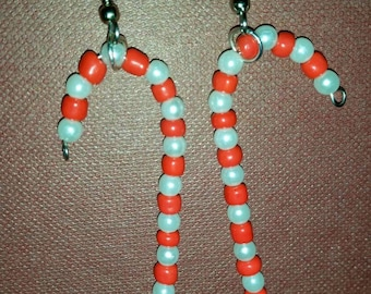 Red and white candy cane earrings