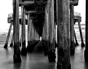 Under the Pier, Black and White Photography,  Huntington Beach Pier, Wall Art