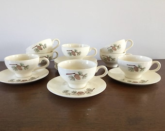 Mid Century Set of 8 Stetson Pinecone Cups & Saucers (1 of 2)