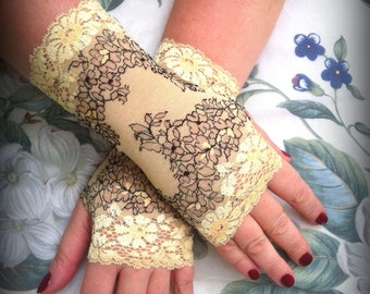 Fingerless gloves of stretch french lace wedding gloves church gloves