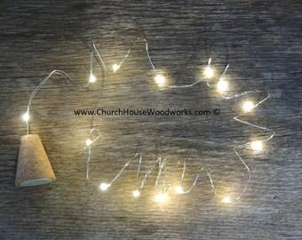 Blinking REAL cork LED Wine Bottle Lights, Battery Operated Fairy Light, Rustic Wedding Decor, 4.5 ft, Soft White Silver Strand String Light