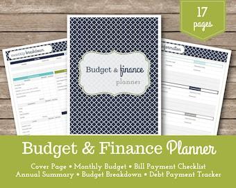 Budget & Finance Planner / Financial Planner / Finance Organizer / Budget Planner / Payment Checklists / Household Budget