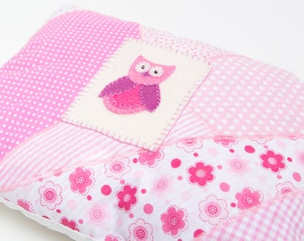 Owl Cushion / Pillow in Pink and White with Patchwork, bead and felt detail - Perfect for Girls Bedroom or any Owl Lover