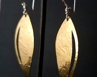Small Brass Leaf Earrings