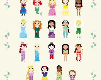 UPDATED 2018 - Disney Princess Cross Stitch Pixel Sampler - PDF Pattern