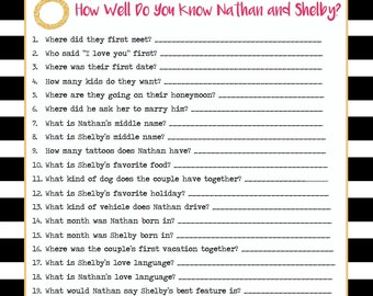 How Well Do You Know? Customizable Bridal Shower Game