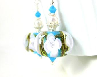 White & Turquoise Blue Floral Earrings, Encased Flower Earrings, Lampwork Earrings, Gift for Gardener, Cottage Chic Jewelry, Nature Earrings