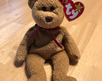 Rare Ty Beanie Baby CURLY the bear!  PVC pellets and no star on tush tag!
