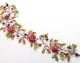 Green and Pink Hair Vine,  Boho Style Hair Piece, Flower Wedding Accessories, Floral Bridal Hair Vine