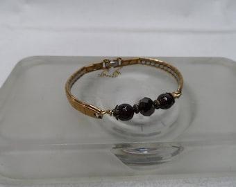 Beaded Band Bracelet - Garnet
