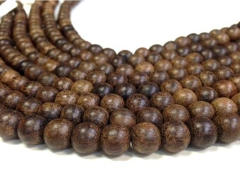 A Grade Wooden Large Hole Naturally Fragrant Sandalwood 6 8 or 10 mm Round Beads - Wood Beads 1.5 - 1.8 hole (MJW2026-BH)
