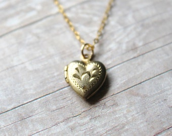 Tiny 12k Gold Filled Vintage Bojar Heart Locket, Gold Heart Locket, 14k Gold Filled Chain, Baptism Locket